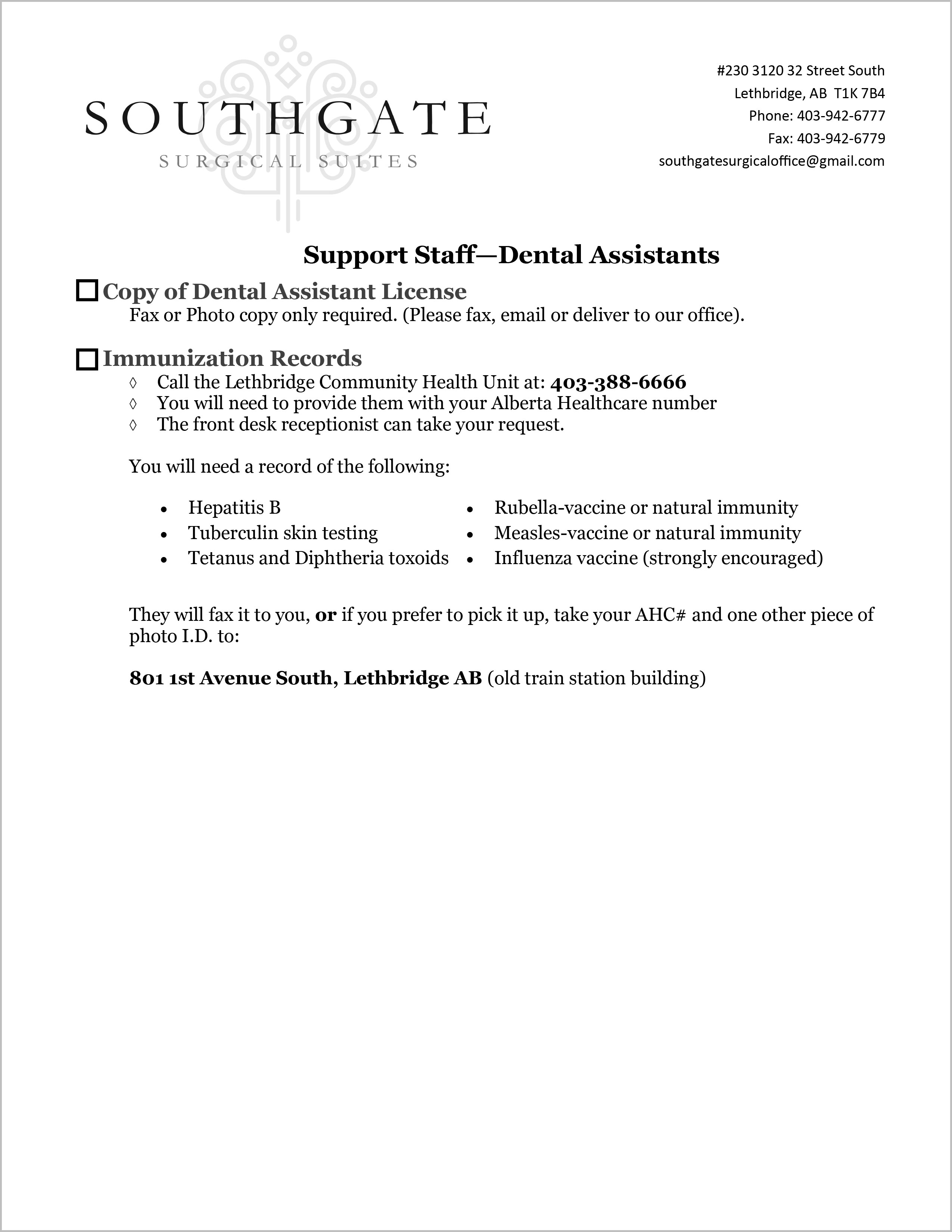 Staff Dental Assistants Form | Southgate Surgical Suites